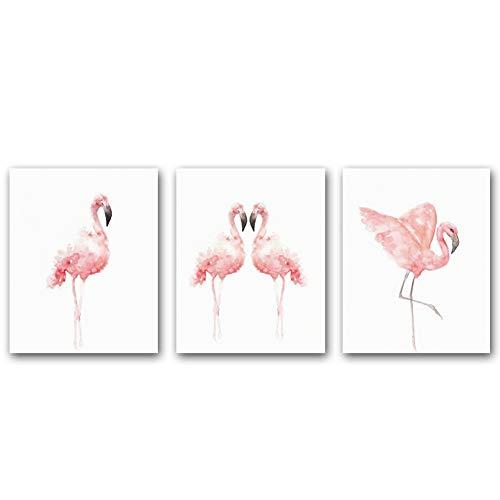 KAIRNE 3er Set kinderzimmer Poster Babyzimmer | Dekoration Kinderposter | Flamingo Bilder | kinderbilder Tiere | Mädchen Junge Deko | Wand-Bilder fürs Schlafzimmer | Wand-Deko Wohnzimmer Ohne Rahmen