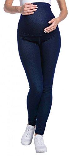 Happy Mama. para Mujer Premama Leggings Banda Elástica Efecto Mezclilla. 948p (Jeans Azul Marino, EU 38/40, XL)