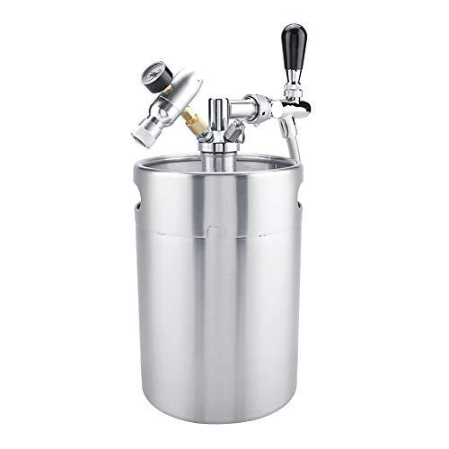 XiangXin Barril de Cerveza, presurizado con Grifo Barril de Cerveza de 5 l, fácil de Rellenar, Duradero para fermentación de Bares, Almacenamiento de Cerveza Artesanal, elaboración casera de Plata