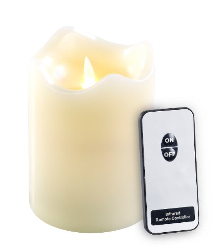 Britesta Kerze Fernbedienung: Echtwachskerze mit beweglicher LED-Flamme & Fernbedienung, M (Kerzen elektrisch mit Flamme)