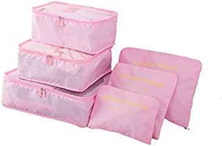 Travel Luggage Organizer Packing Cubes Set 6pcs Waterproof Storage Bags Pink
