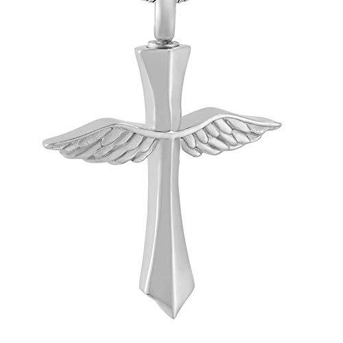 Collar de urna de cremación Alas de ángel Cruz colgante de cremación Joyería conmemorativa Collar de urna de acero inoxidable Medallón de urna