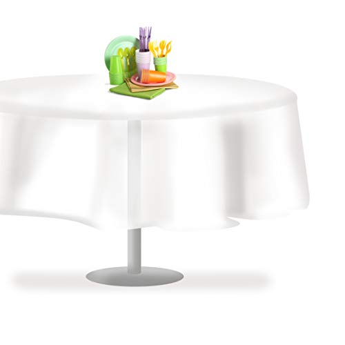 White 84' Round 6 Pack Premium Disposable Plastic Tablecloth 84 Inch Round Table Cover By Grandipity