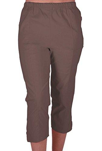 EyeCatchClothing Cora Damen Stretch Capri Crop Shorts Capri-Hose Pants der Frauen 3/4 Dreiviertelhose Braun Gr. 48