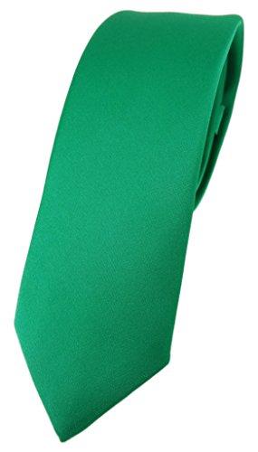 TigerTie schmale Designer Krawatte in grün einfarbig Uni - Tie Schlips