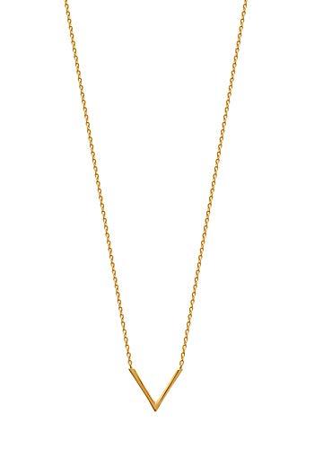 Tata Gisèle - Collar chapado en oro de 18 quilates, colgante en forma de V, triángulo abierto, bolsa de terciopelo de regalo