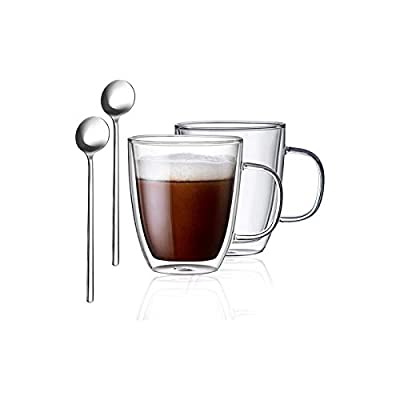 FineTess Glass Coffee Mugs, Double Wall Insulated Glasses Premium Thermo Espresso Cups with Handle and 2 Teaspoons Ideal for Coffee,Cappuccinos,Tea Bag,Beverage(12.5OZ, Set of 2,Gift Box Package)