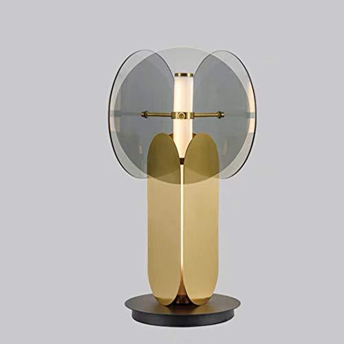 Lámpara de mesa de metal con LED, lámpara de escritorio decorativa con pantalla de cristal creativa, moderna, lámpara de lectura de noche de dormitorio, 15 W, luz de noche