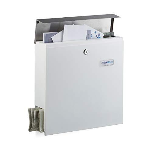 Relaxdays Briefkasten mit Zeitungsfach und Namensschild, Modern Design, Edelstahl, HxBxT: 36,5 x 37 x 10,5 cm, Weiß