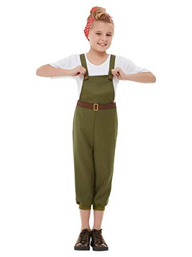 Smiffys 50741M WW2 - Disfraz de niña de la pequeña tierra, talla M, 7-9 años, color verde