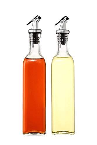 Raawan Glass Olive Oil Bottle Oil Vinegar Dispenser Gravy Boat Kitchen Bottle Stainless Steel Leak-Proof Vinegar Cruet Soy Sauce Oil Dispenser, Oil Dispenser for Kitchen, 500ml Clear (1)
