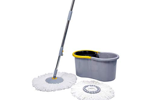 Esquire Elegant GREY 360° Spin Mop Set with Easy Wheels and Additional Refill