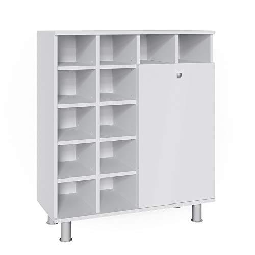 Vicco Wäscheschrank Fynn Badschrank mit Wäschekorb Badezimmerschrank Badmöbel (Weiß)