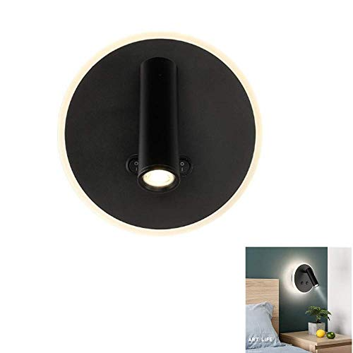 Lámpara de pared lámpara de noche LED 7 W + 3 W con doble interruptor Uso de la lectura del libro, lámpara de pared para lectura del cabecero de la casa Loft, lámpara de lectura nocturna 3000 K