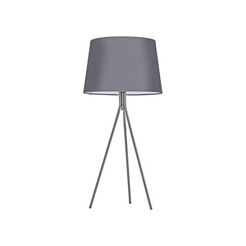 Tischlampe mit Schirm Grau Stoff Lampenschirm Dekolampe (Tischleuchte, Höhe 30 cm, Leselampe, Fassung E27)