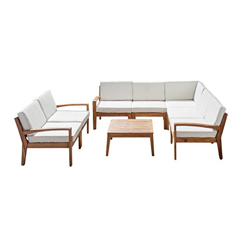 Great Deal Furniture Amaryllis Sectional Sofa Set for Patio | Acacia Wood with Cushions | 7-Piece Sectional with Coffee Table | Teak and Cream