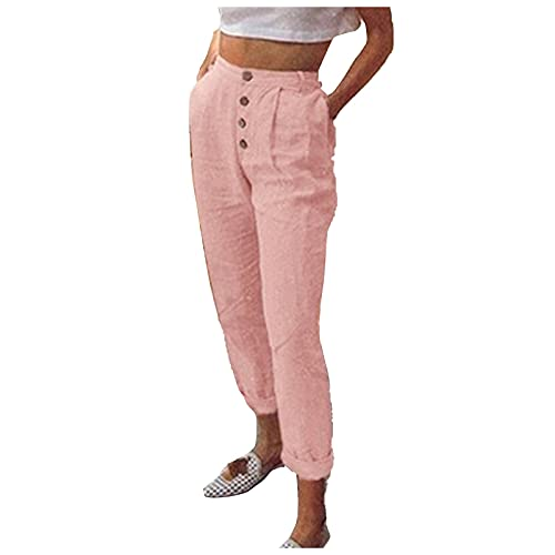 Liably Pantalones ligeros para mujer, con bolsillos, de un solo color, sueltos, de pernera ancha, ligeros, de talle alto, elegantes, para jogging, adolescentes. Rosa. XXXL