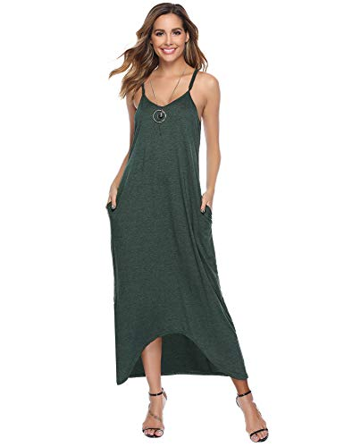Aibrou Vestidos Casual Mujer Algodón Tirantes Verde L