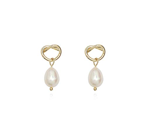 anaan Pearl Earrings dangle of copper 14 gold plated Freshwater Pearl Stud Earrings jewelry small Nickel free wedding for women (Bretzel Yellow gold polished)