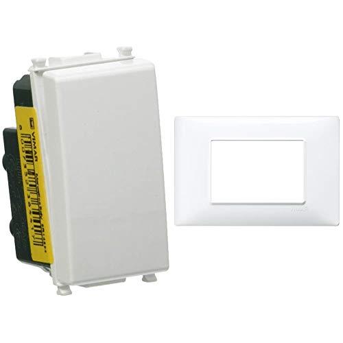 Vimar 0R14004 Plana Deviatore Elettrico illuminabile 1P 10AX Bianco & 14653.01 Placca 3 Moduli, Bianco