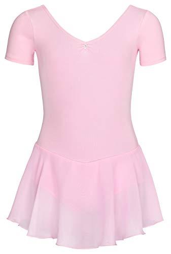tanzmuster ® Ballettkleid Mädchen Kurzarm - Betty - aus Baumwolle mit Glitzersteinen und Chiffon Röckchen in rosa, Größe:128/134