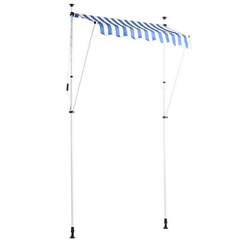 Shipenophy Instalación Simple Soporte Ajustable Sombrilla Impermeable Toldo Toldo Toldo Manual Toldo de Ventana retráctil Duradero para jardín(Blue and White Strips)