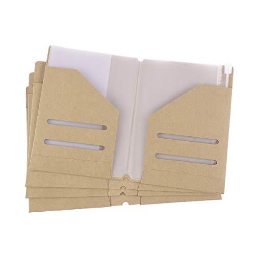 TOYANDONA Pasta de arquivo Kraft de 4 peças com 4 peças com zíper, pasta Kraft, recargo, porta-cartões para passaporte, viagem