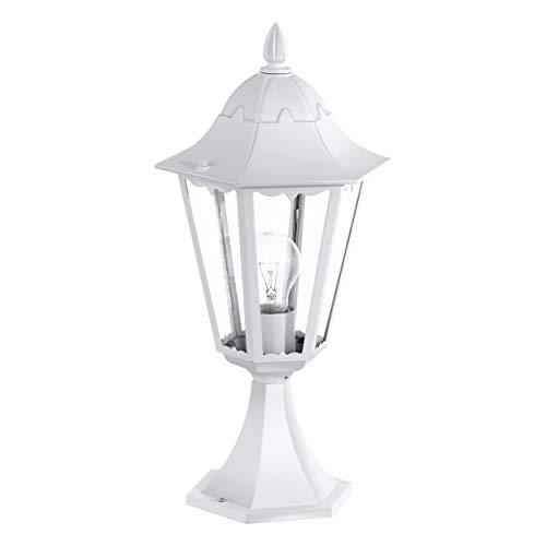EGLO Außen-Sockellampe Navedo, 1 flammige Außenleuchte, Sockelleuchte aus Aluguss und Glas, Farbe: Weiß, Fassung: E27, IP44