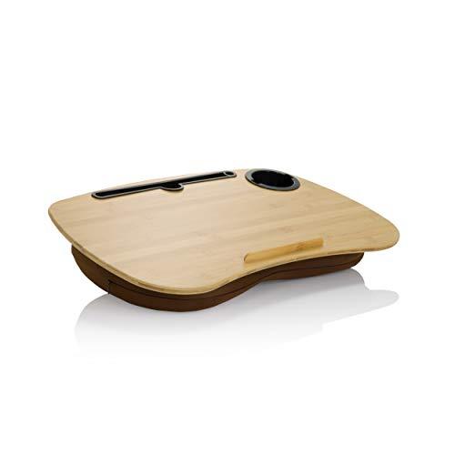 hjh OFFICE 830057 Laptop Mat Cushion 55 x 34 cm COMFILAP I Bamboo Brown Cushion Tray with Non-Slip Holder Strip