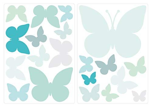 dekodino® Wandtattoo Pastell Schmetterlinge in zartem Blau und Grün 20 Stück