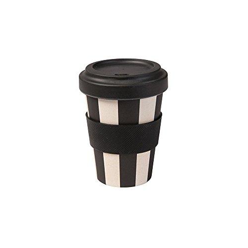 BIOZOYG ECO Friendly Bambus Trinkbecher mit Deckel und Silikonmanschette I Melamin Becher Bamboo Cup Travel Mug Mehrweg Kaffeebecher to go BPA frei I schwarz weiß 300 ml