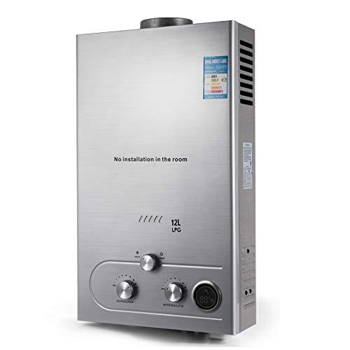Husuper 12L LPG Calentador de Agua Sin Tanque Caldera Instantanea Bano Ducha Calentador de Agua Instantaneo Hot Water Heater