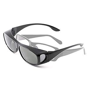 【メガネの上から】 サングラス メンズ 偏光 オーバーサングラス ゴーグル UVカット 防風 花粉 風よけ [福岡発のアイウェアブランドFREESE](ブラック)