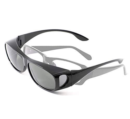 [FREESE] サングラス メンズ 偏光 メガネの上から オーバーサングラス UVカット (ブラック)