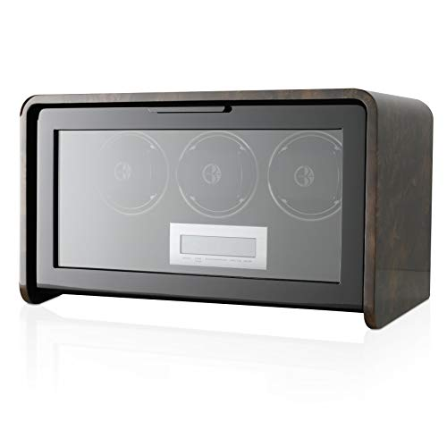 Triple Watch Winder Box for Self-Winding up to 3 Automatic Watches with LED Case Backlight and LCD Touchscreen Display for All Watch Brands and All Watch Sizes (Carbon)