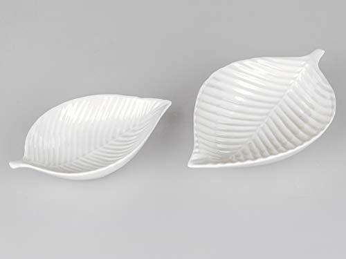 formano Dekoschale ~ Teller ~ Kerzen Schale~ Blatt L.16 cm glänzend Porzellan-Weiss