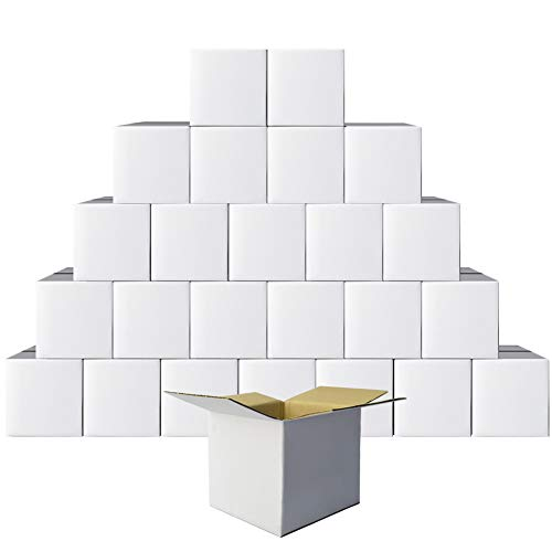 Shipping Boxes 4x4x4 White Cardboard Box Kraft Corrugated Small Mailing Boxes, 25 Pack