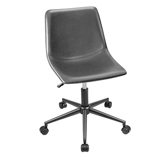 Furmax Mid Back Task Chair PU Leather Adjustable Swivel Office Chair Bucket Seat Armless Computer Chair Modern Low Back Desk Conference Chair (Gray)
