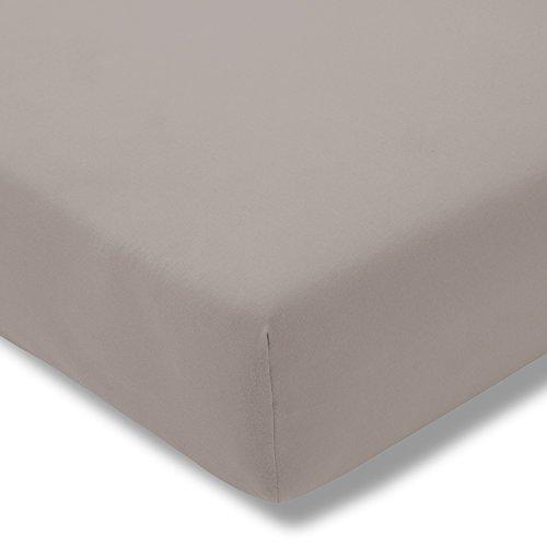 ESTELLA Topper-Spannbetttuch Zwirnjersey | Kiesel | 180-200x200 cm | passend für Topperhöhen von 7-10 cm | trocknerfest und bügelfrei | 97% Baumwolle 3% Elastan