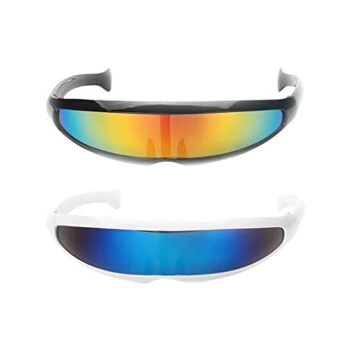 chiwanji Paquete de 2 gafas de sol futuristas de color plateado con espejo de cíclope estrecho para disfraz