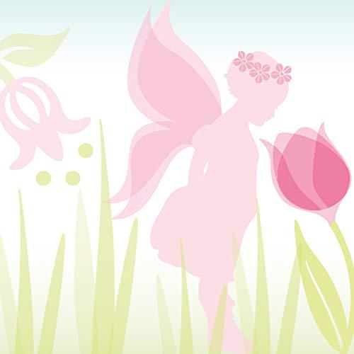 anna wand Bordüre selbstklebend LOVELY FAIRIES - Wandbordüre Kinderzimmer / Babyzimmer mit Feen & Elfen in Rosa-Grün - Wandtattoo Schlafzimmer Mädchen & Junge, Wanddeko Baby / Kinder