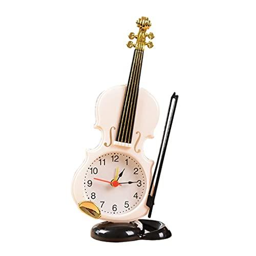 HEKRW Reloj Despertador de Cuarzo único, Reloj Vintage, decoración de Oficina en casa, Mini Escritorio de Noche, Reloj Despertador de violín, Regalos para Festivales de Estudiantes Hechos a Mano