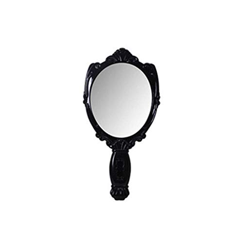 LCZMQRCLMZRQ Lady draagbare make-up spiegel retro handheld make-up spiegel schoonheid spiegel make-up tools, zwart klein