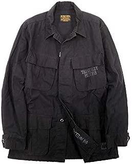 [ワコマリア] 天国東京 ウォッシュ加工 リップストップ バックプリント コットン シャツジャケット BALCK S ka20180629-13 メンズ