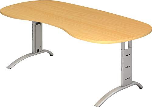 bümö® Schreibtisch höhenverstellbar | Büroschreibtisch Profiqualität | Bürotisch in 6 Dekoren & 9 Längen verfügbar (Buche, Nierenform: 200x100 cm)
