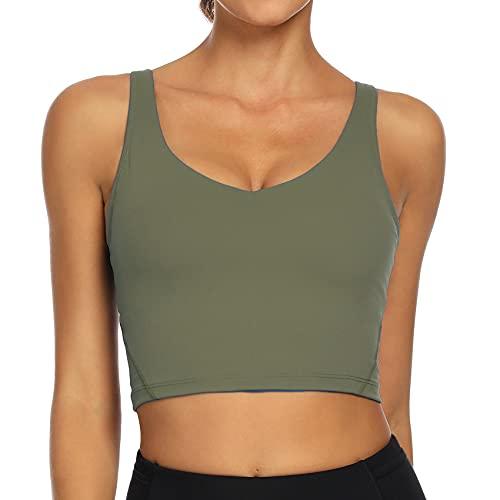 Lemedy Women Sports Bra Longline Crop Tank Top Padded Workout Running Yoga (M, Olive Green)