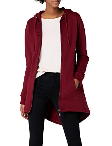Urban Classics Damen Sweatjacke Ladies Sweat Parka, lange Kapuzenjacke im Stil eines Zip Hoodie - Farbe burgundy, Größe S