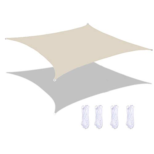MEEYI Sonnen Segel, Quadratisch Sonnensegel Windschutz Wasserabweisend Tear Resistant Wetterschutz 95% Beschattung Uv Schutz FüR Garten, Terrasse, Balkon...