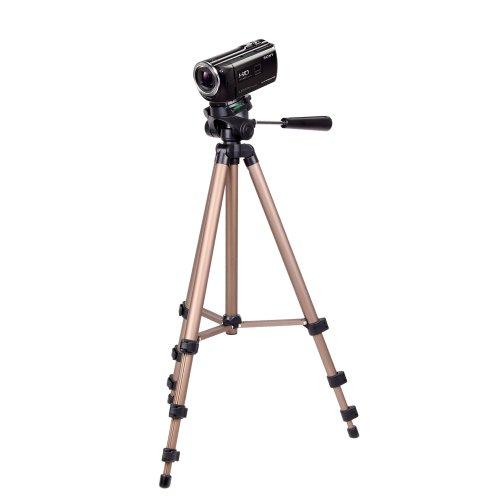 DURAGADGET Treppiede di alta qualità, con gambe estensibili, testa a sfera in nero e inclinabile & Gold per Sony Handycam HDR-PJ620 con proiettore integrato, Sony Handycam HDR-PJ410 con proiettore integrato CX405 Sony HDR-videocamera Handycam