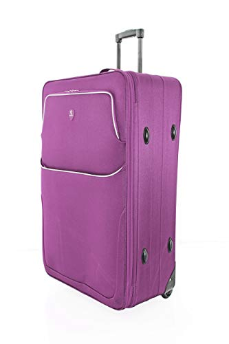 "Large 29"" Super Lightweight 2 Wheeled Suitcase Trolley Luggage Hold Bag - U660 (Purple)"